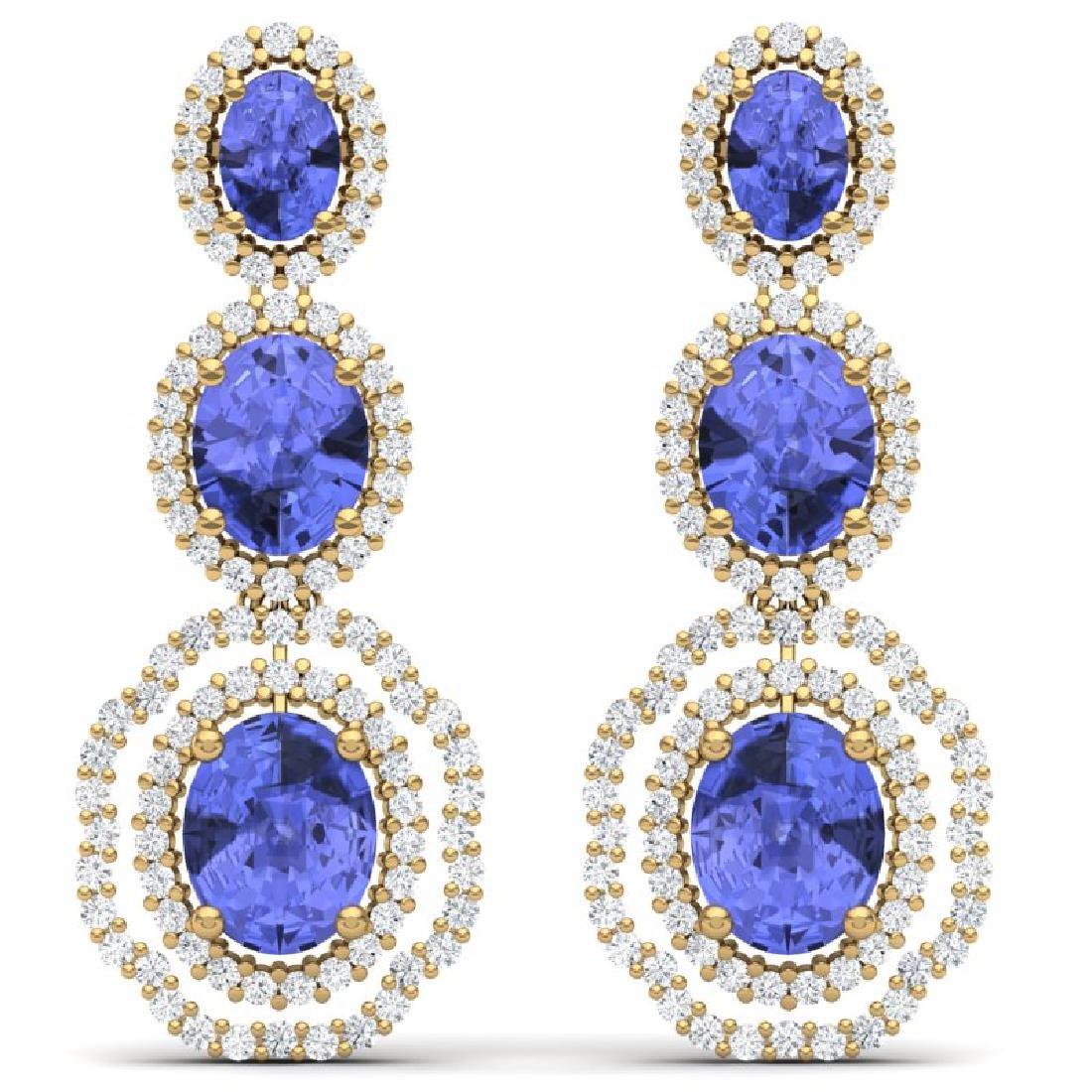 17.32 CTW Royalty Tanzanite & VS Diamond Earrings 18K