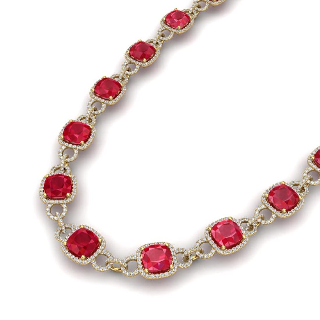 56 CTW Ruby & VS/SI Diamond Necklace 14K Yellow Gold