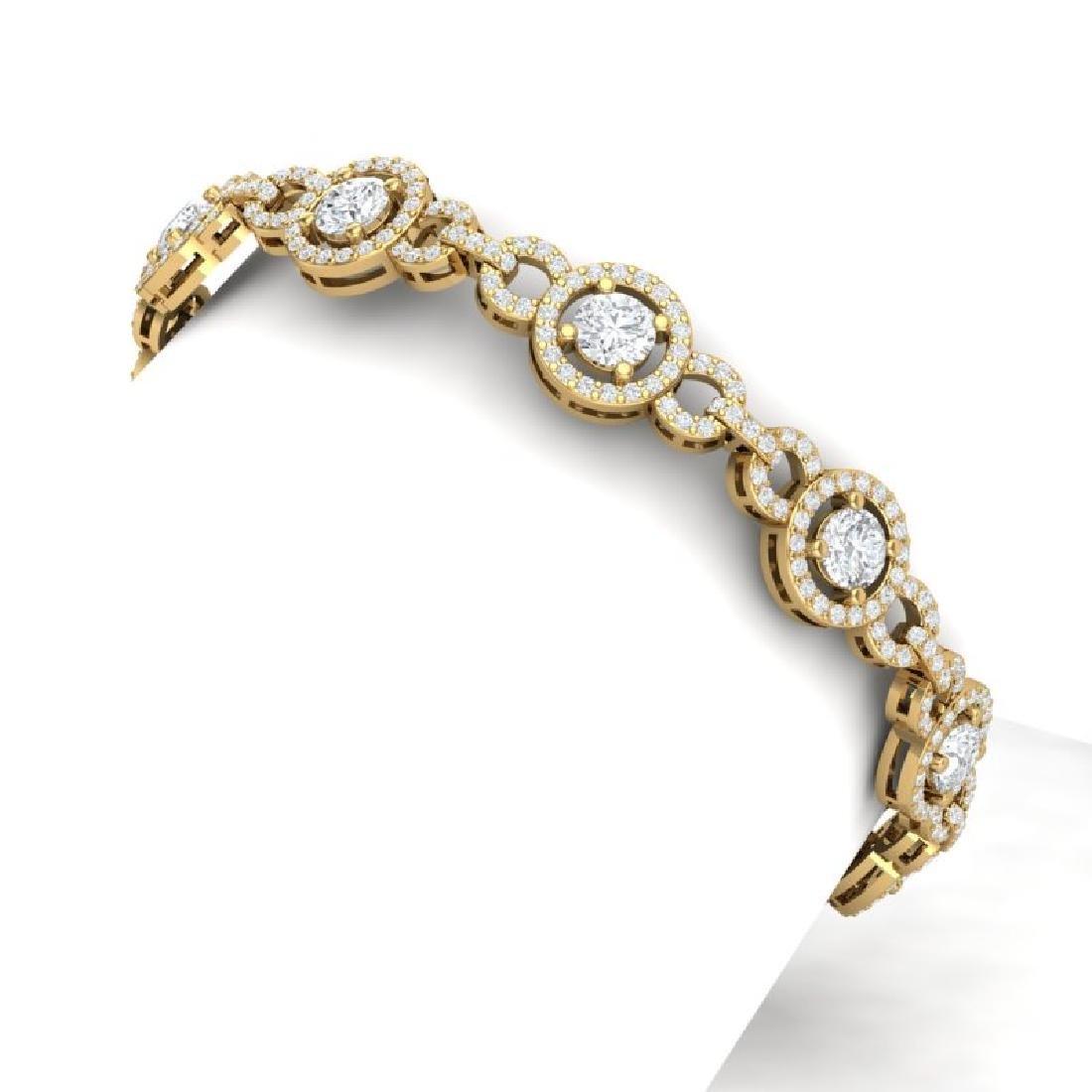 9 CTW Certified SI/I Diamond Halo Bracelet 18K Yellow