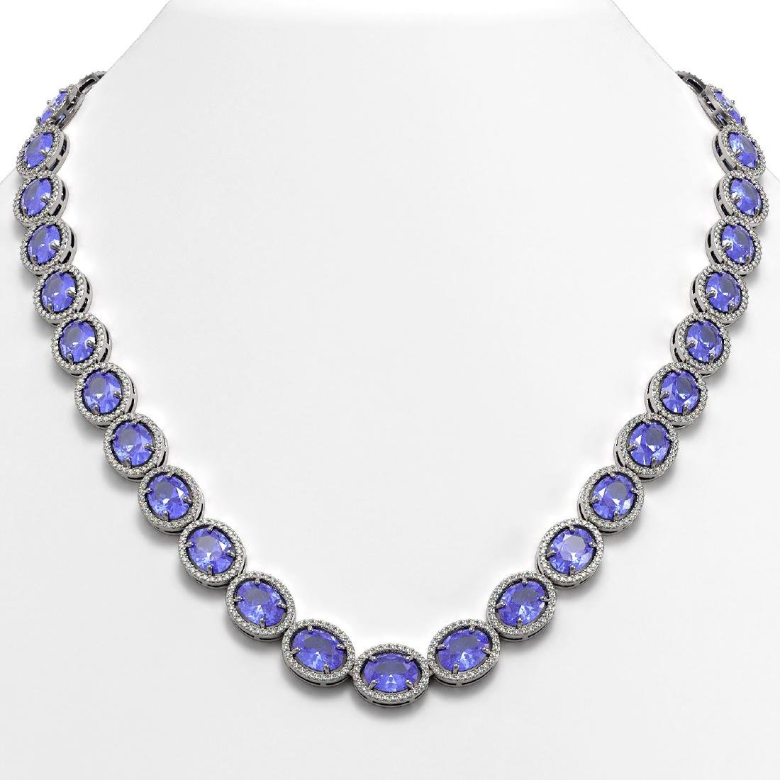 62.99 CTW Tanzanite & Diamond Halo Necklace 10K White