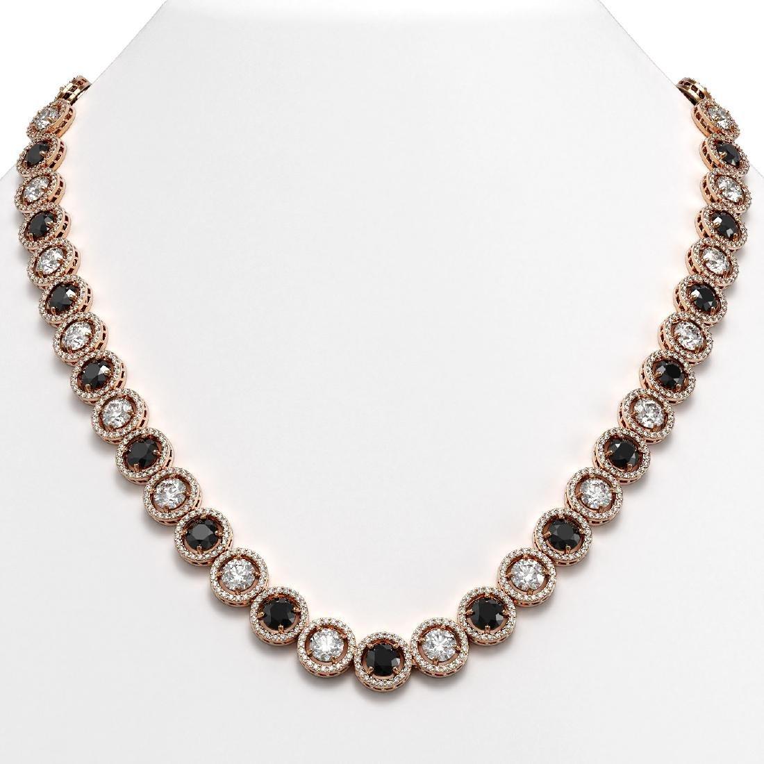 35.55 CTW Black & White Diamond Designer Necklace 18K