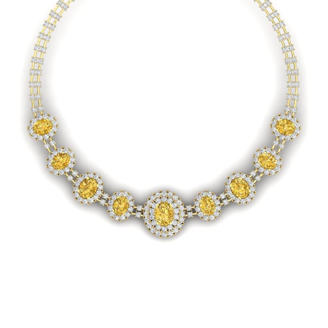 43.20 CTW Royalty Canary Citrine & VS Diamond Necklace
