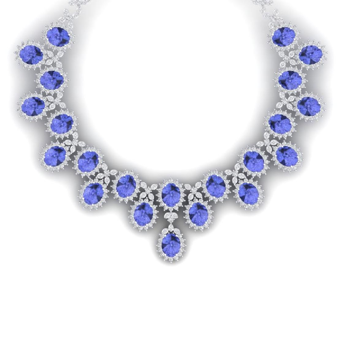86 CTW Royalty Tanzanite & VS Diamond Necklace 18K