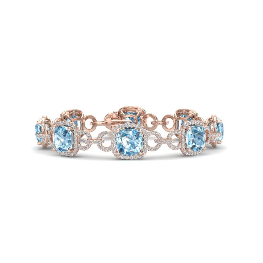 30 CTW Topaz & VS/SI Diamond Bracelet 14K Rose Gold