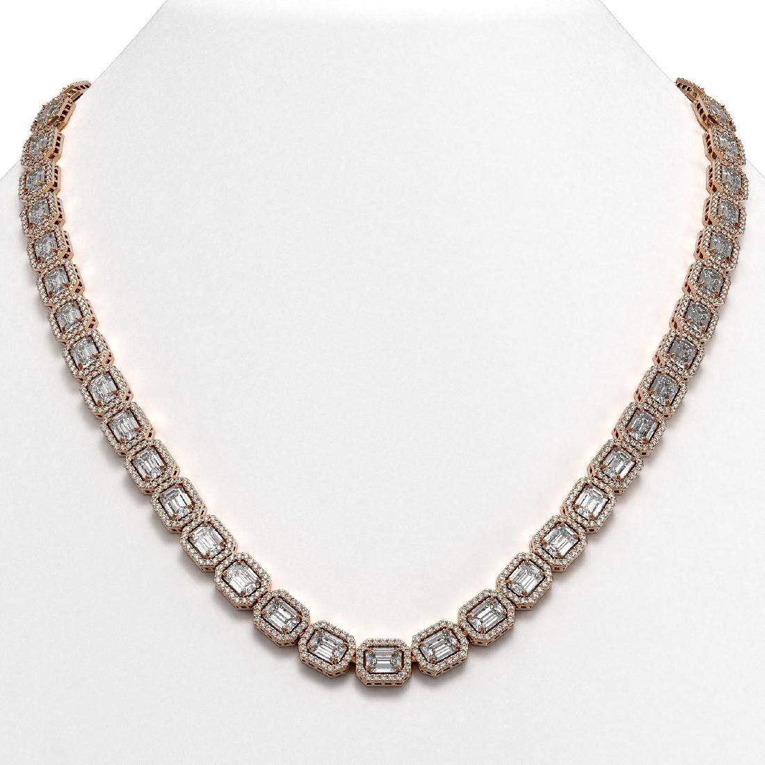 38.05 CTW Emerald Cut Diamond Designer Necklace 18K