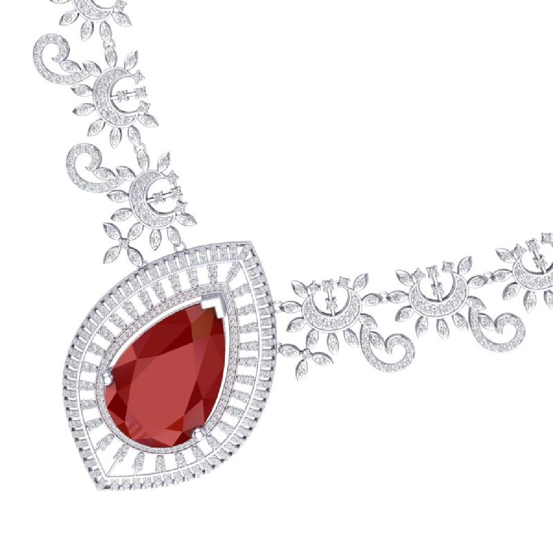 65.75 CTW Royalty Ruby & VS Diamond Necklace 18K White