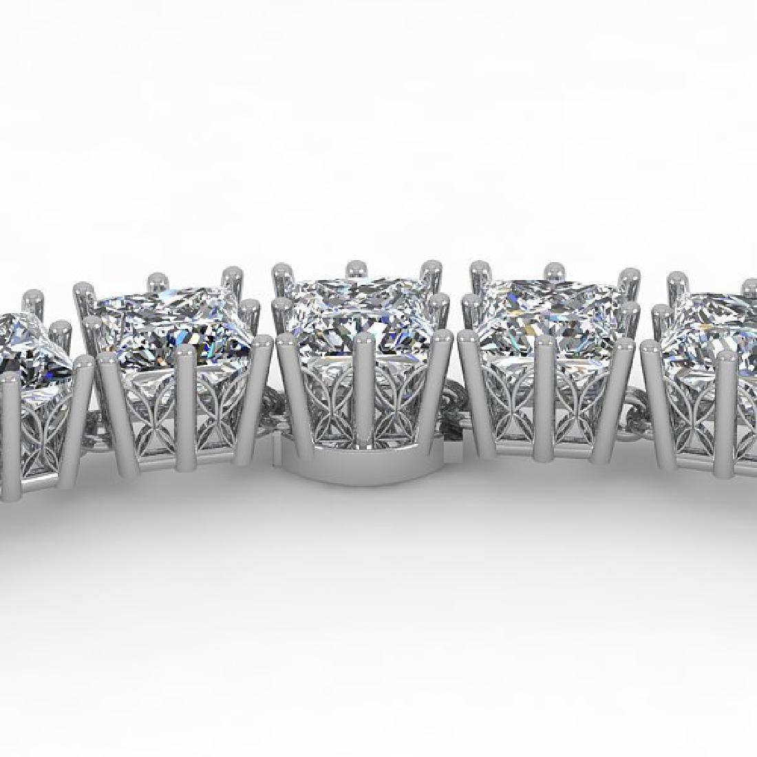 40 CTW Princess SI Diamond Necklace 18K White Gold