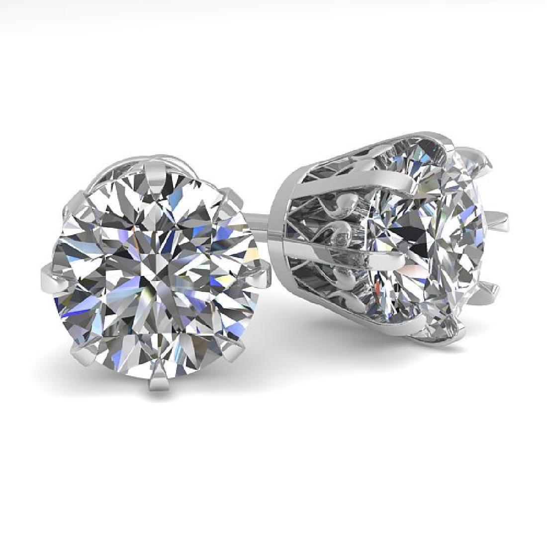 3 CTW VS/SI Diamond Stud Solitaire Earrings 18K White