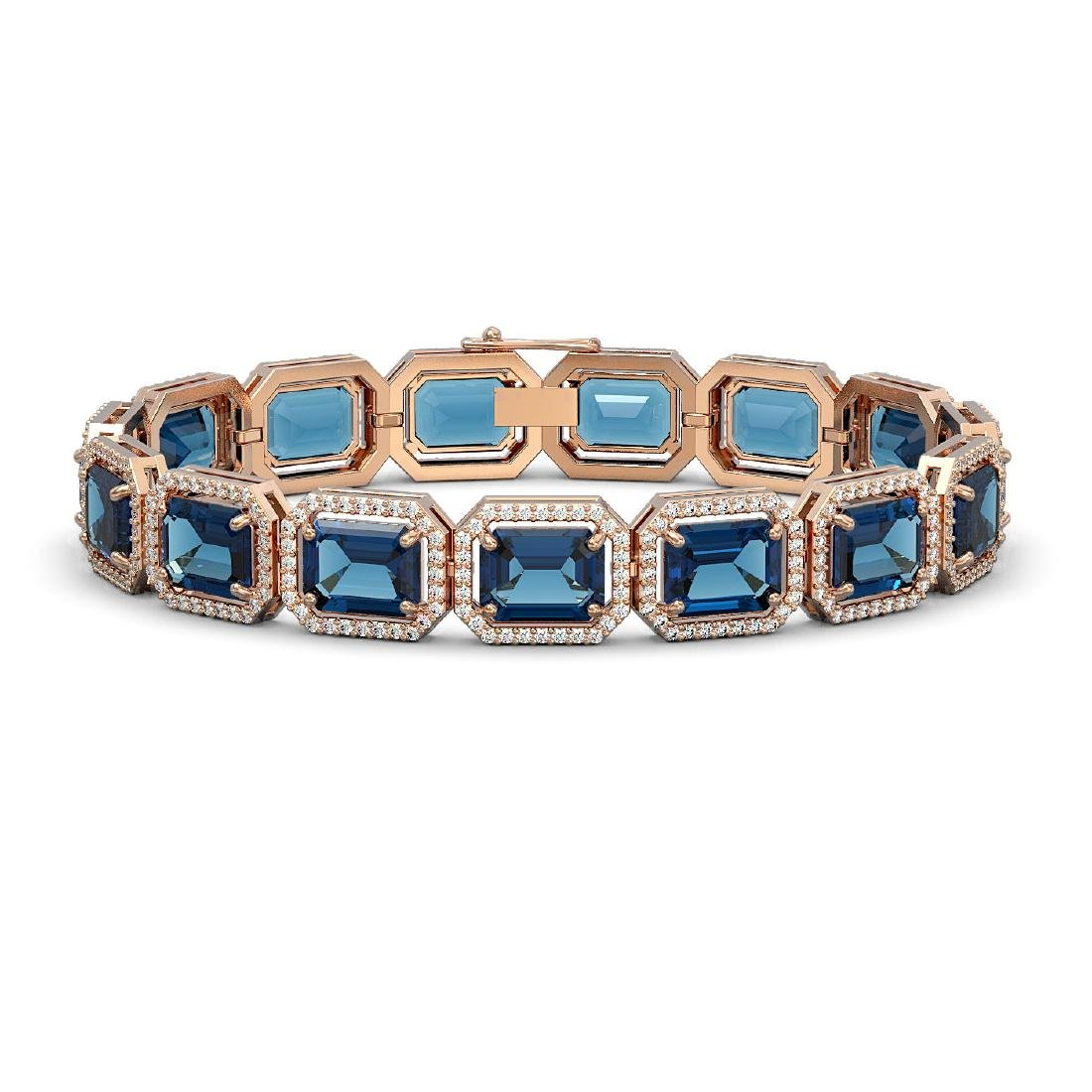 35.61 CTW London Topaz & Diamond Halo Bracelet 10K Rose