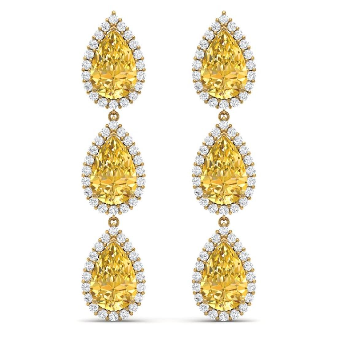 24.23 CTW Royalty Canary Citrine & VS Diamond Earrings