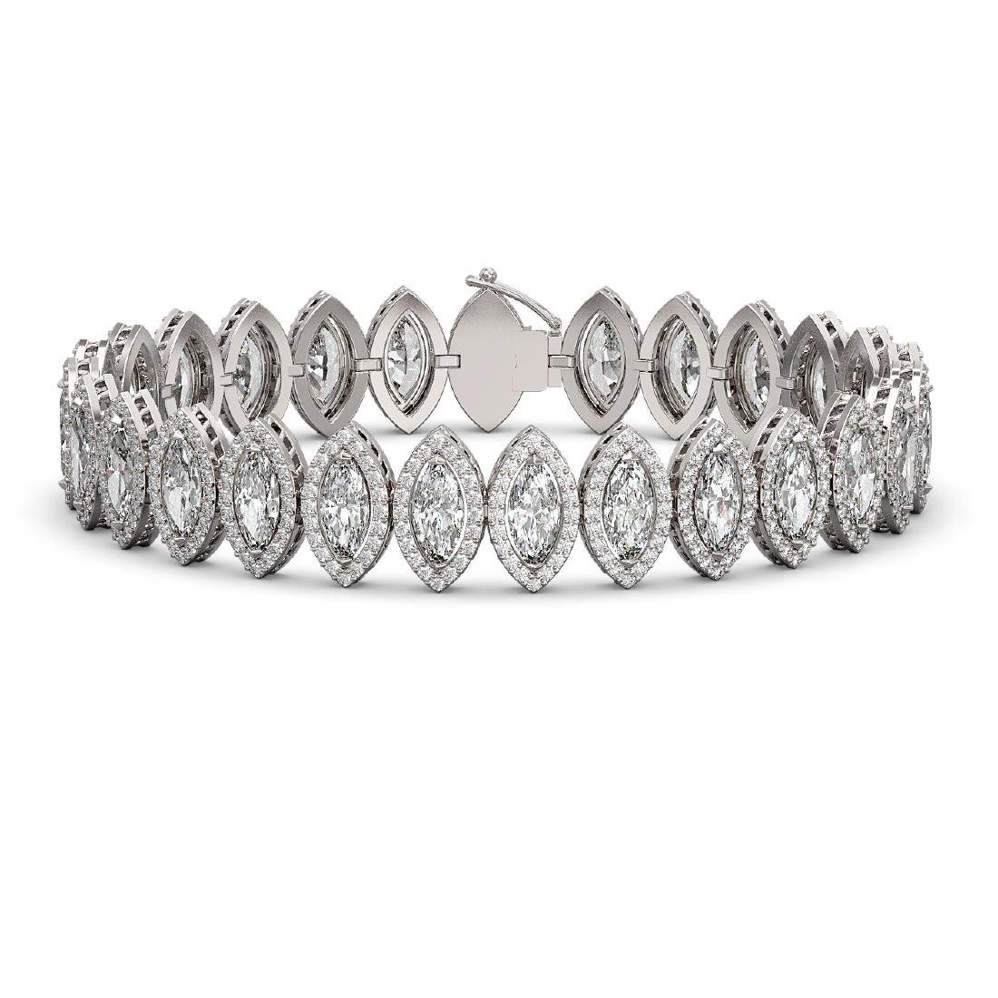 20.25 CTW Marquise Diamond Designer Bracelet 18K White