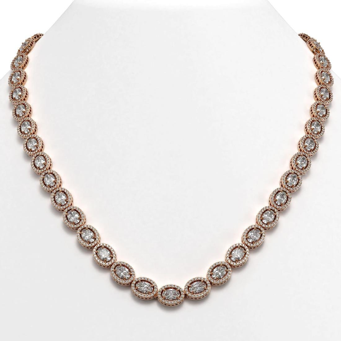 34.96 CTW Oval Diamond Designer Necklace 18K Rose Gold