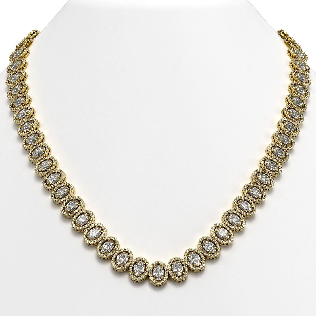 42.56 CTW Oval Diamond Designer Necklace 18K Yellow