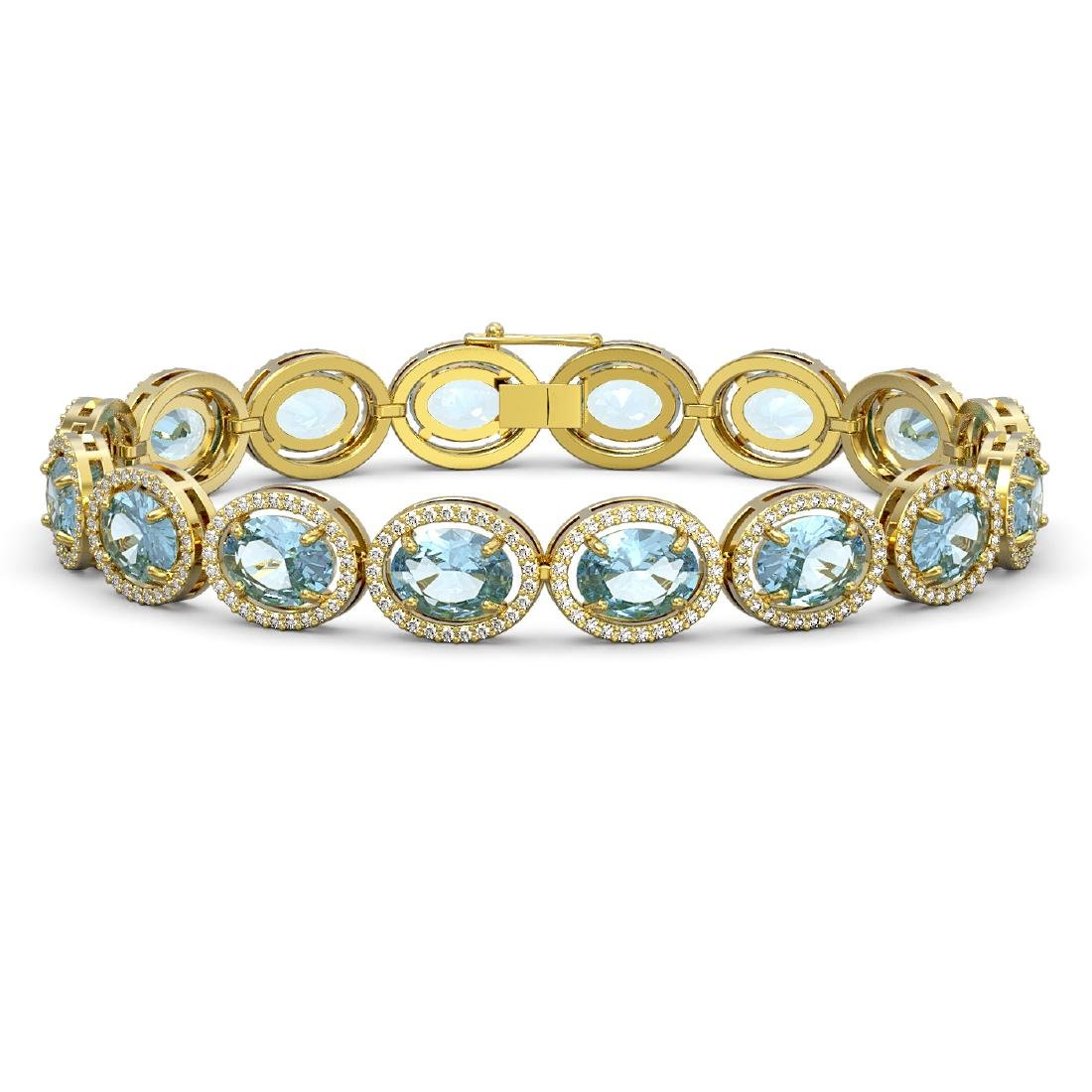 23.44 CTW Aquamarine & Diamond Halo Bracelet 10K Yellow