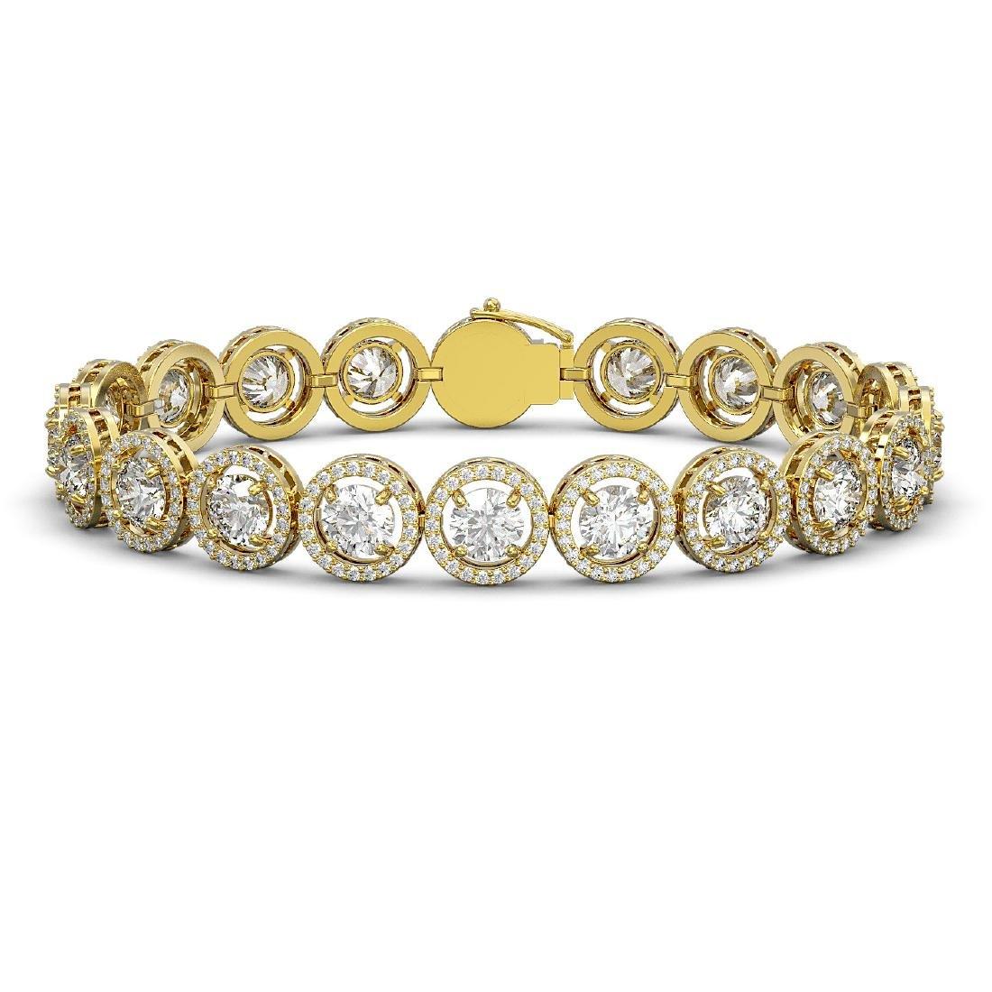 15.36 CTW Diamond Designer Bracelet 18K Yellow Gold