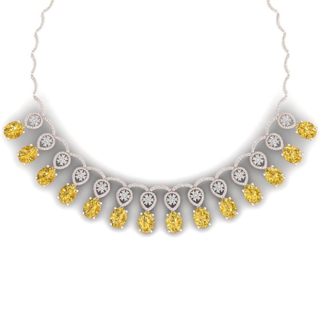 51.57 CTW Royalty Canary Citrine & VS Diamond Necklace