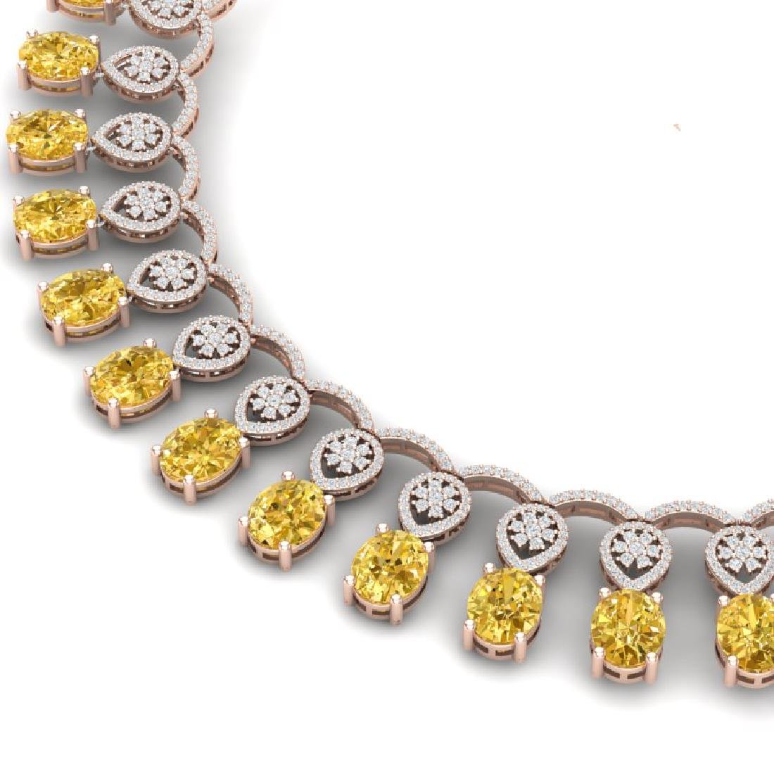 51.57 CTW Royalty Canary Citrine & VS Diamond Necklace - 2