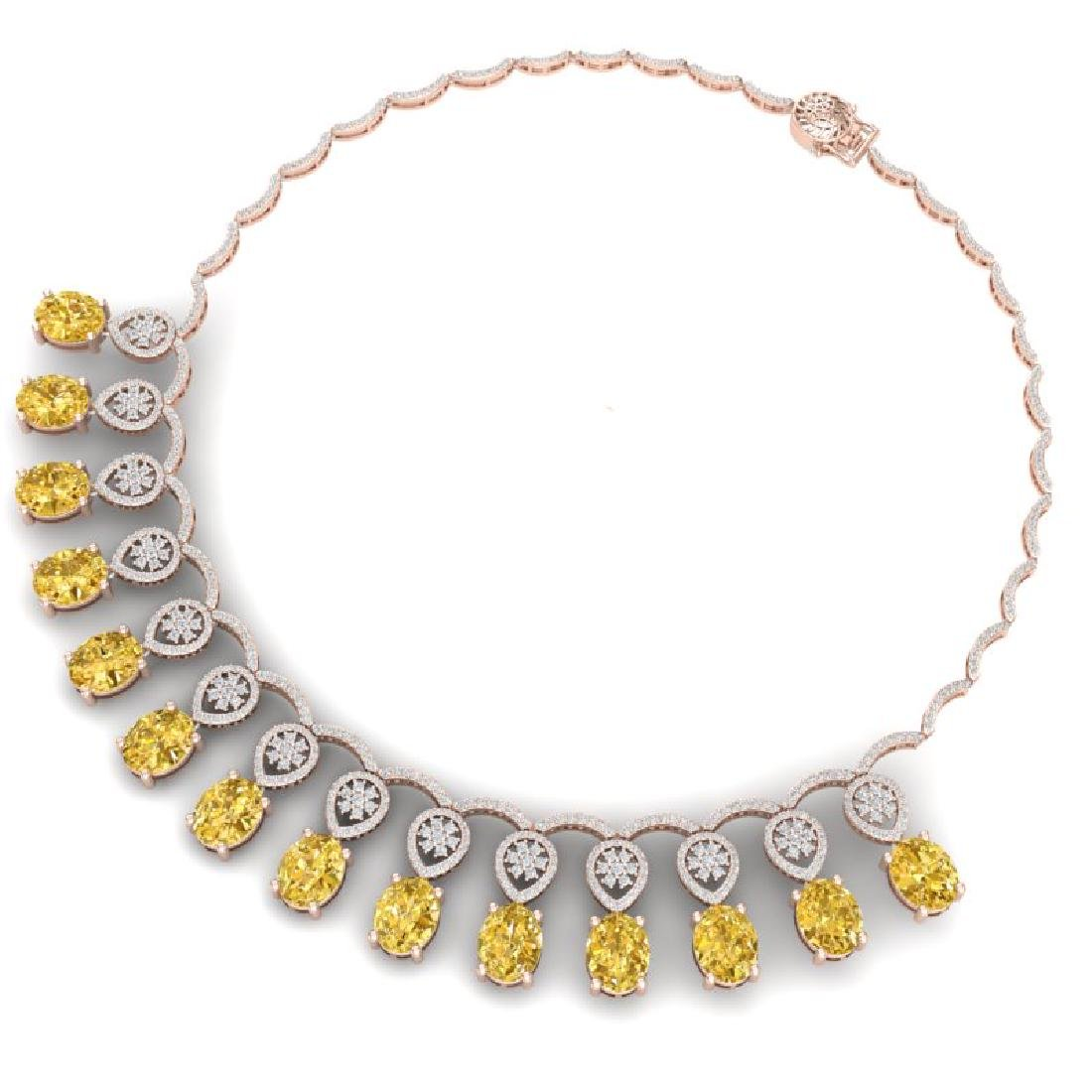 51.57 CTW Royalty Canary Citrine & VS Diamond Necklace - 3