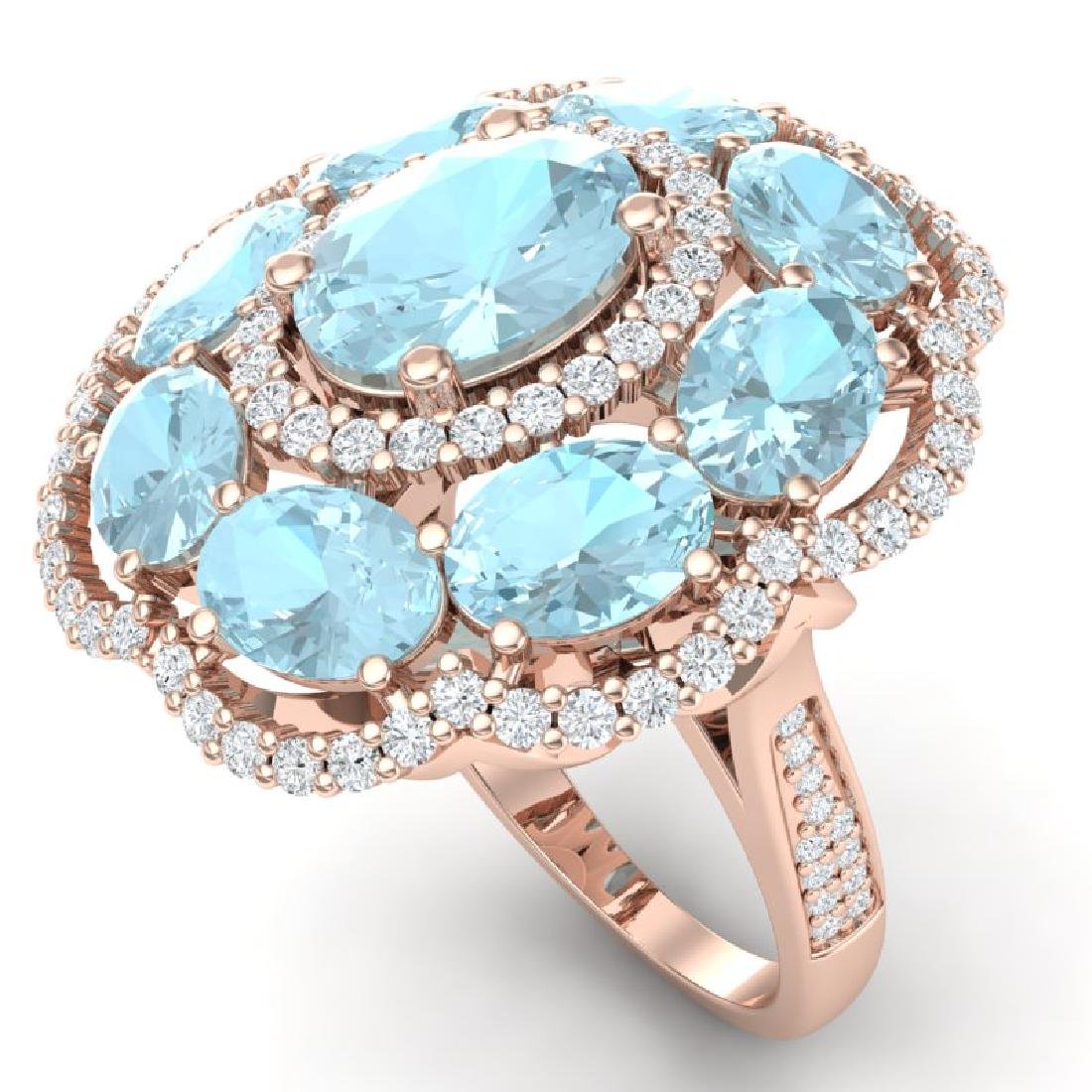 14.89 CTW Royalty Sky Topaz & VS Diamond Ring 18K Rose