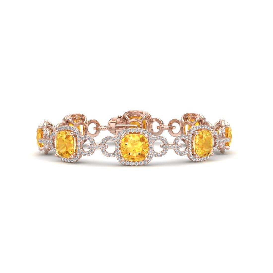 30 CTW Citrine & VS/SI Diamond Bracelet 14K Rose Gold
