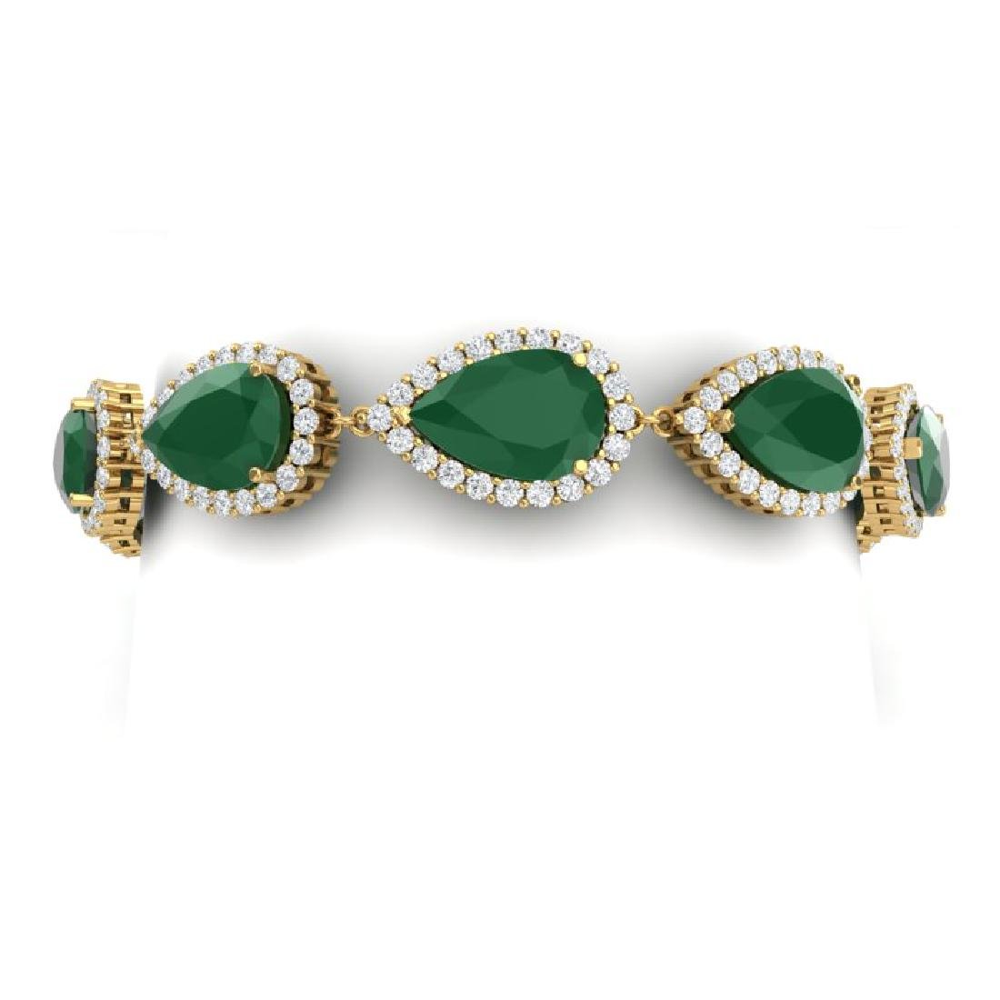 42 CTW Royalty Emerald & VS Diamond Bracelet 18K Yellow