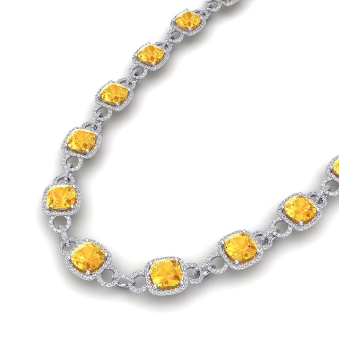 66 CTW Citrine & VS/SI Diamond Necklace 14K White Gold