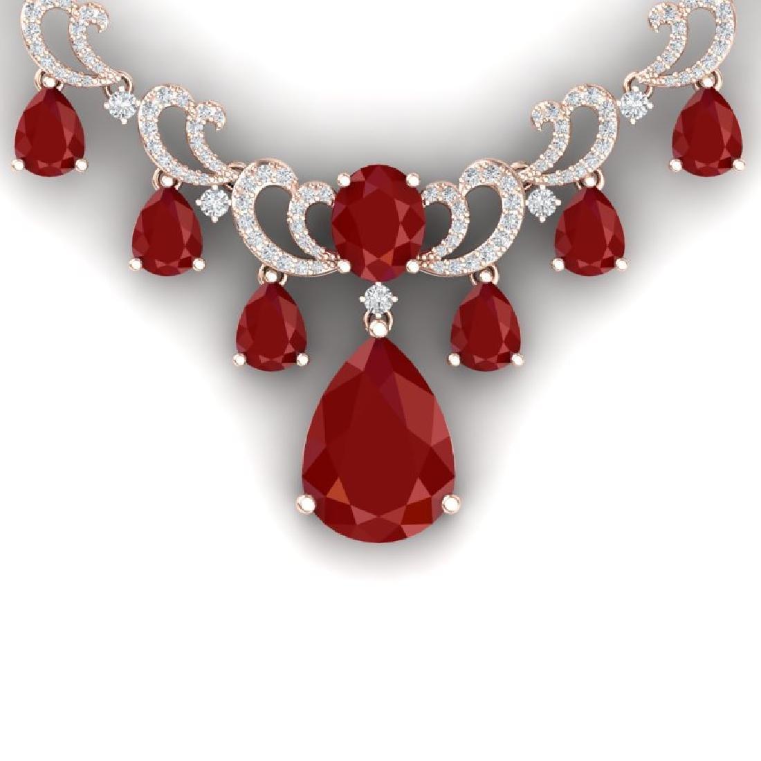 36.85 CTW Royalty Ruby & VS Diamond Necklace 18K Rose