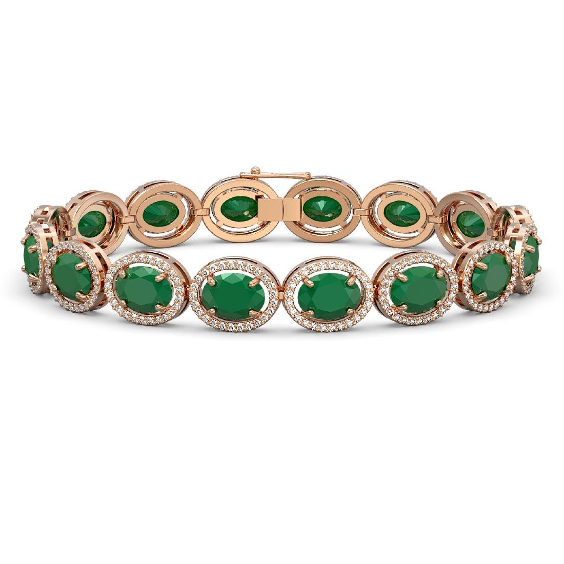 31.79 CTW Emerald & Diamond Halo Bracelet 10K Rose Gold
