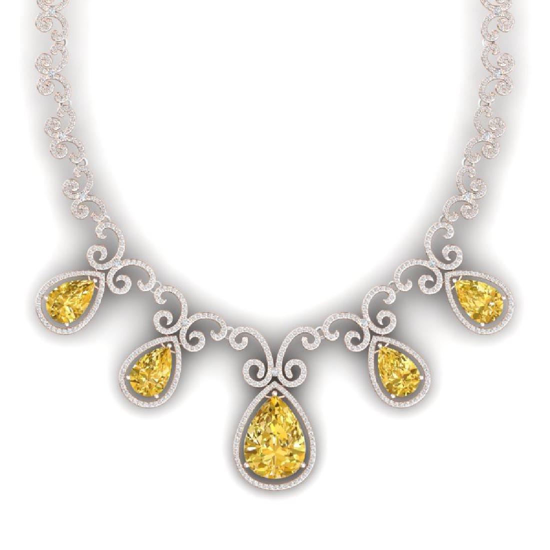 36.1 CTW Royalty Canary Citrine & VS Diamond Necklace