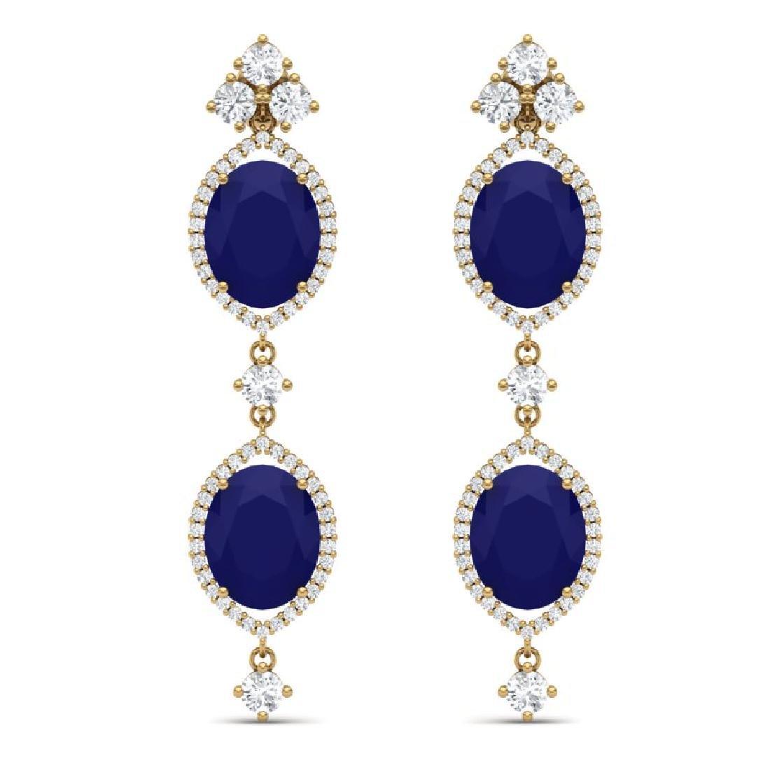 15.81 CTW Royalty Sapphire & VS Diamond Earrings 18K