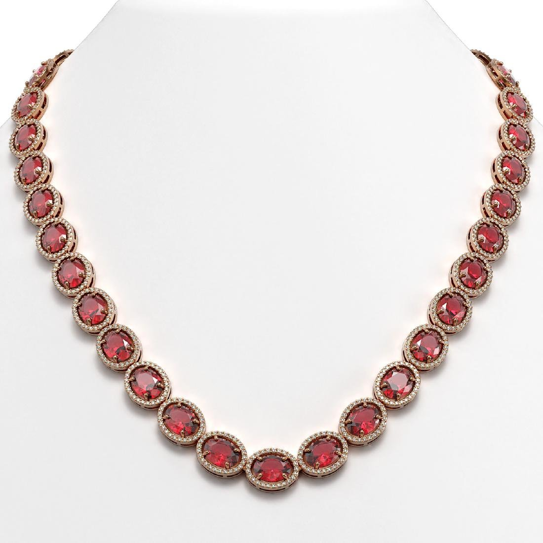 54.48 CTW Tourmaline & Diamond Halo Necklace 10K Rose