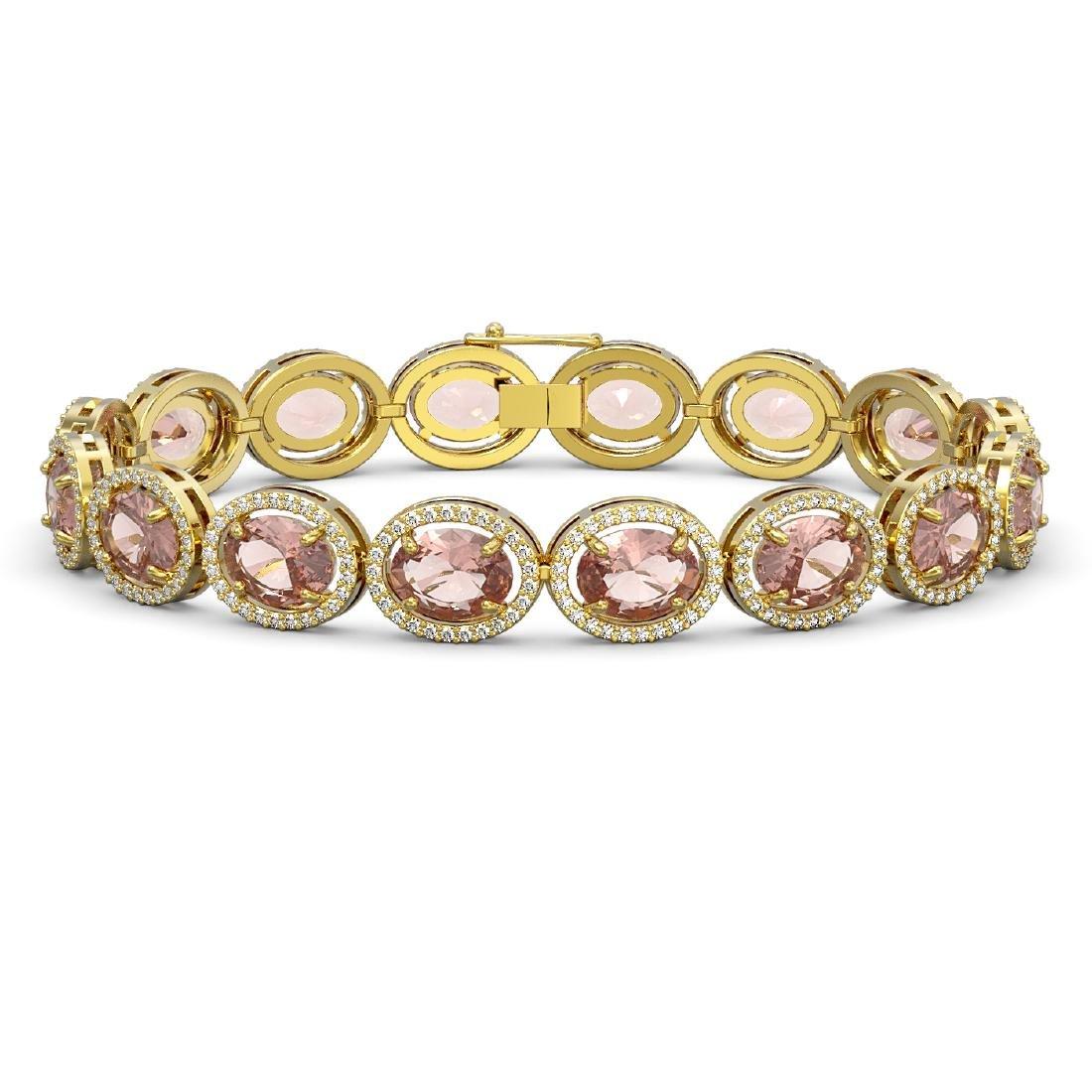 22.8 CTW Morganite & Diamond Halo Bracelet 10K Yellow