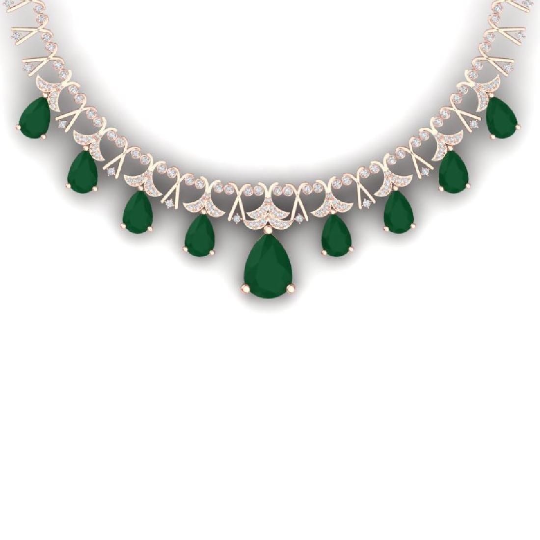 56.94 CTW Royalty Emerald & VS Diamond Necklace 18K