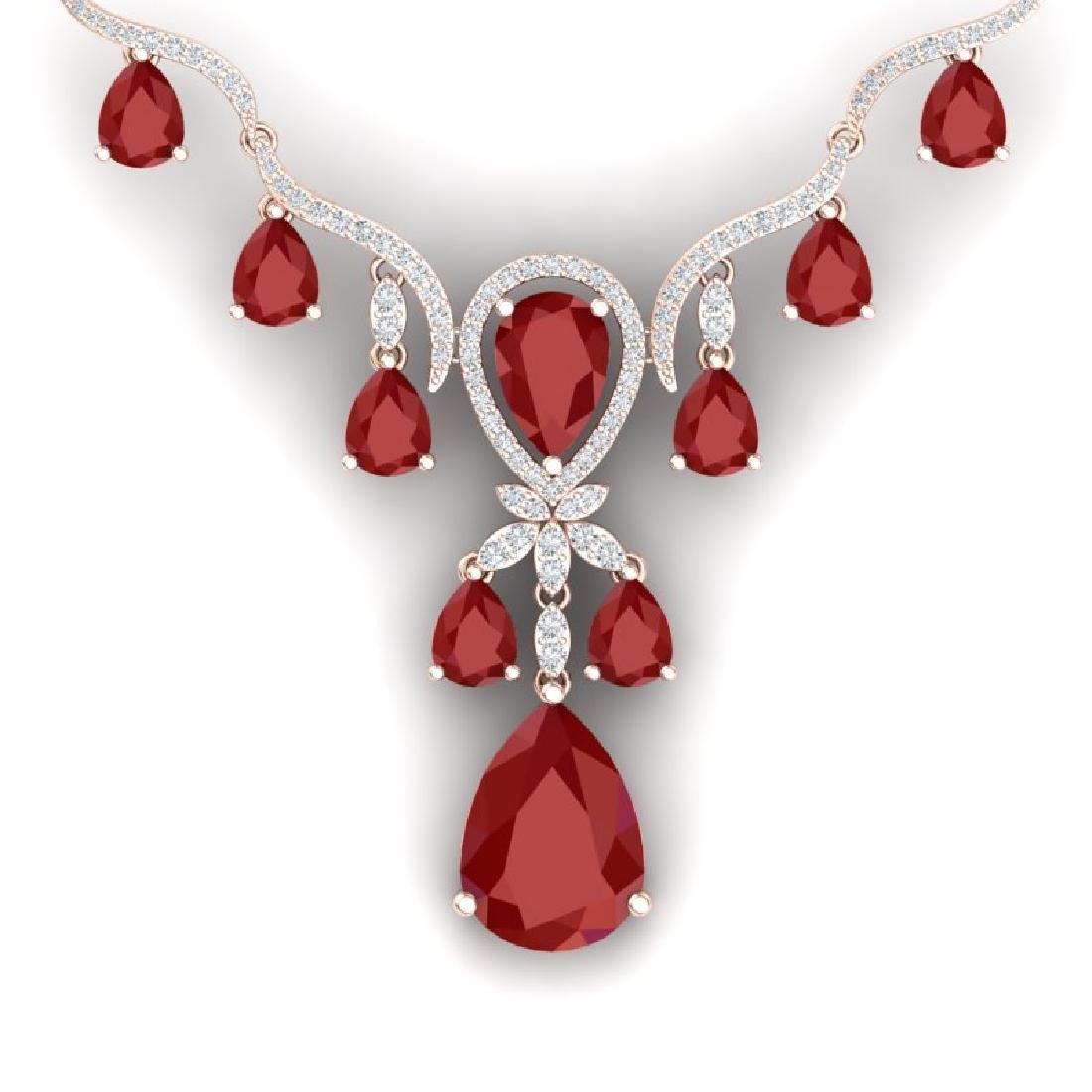 36.14 CTW Royalty Ruby & VS Diamond Necklace 18K Rose