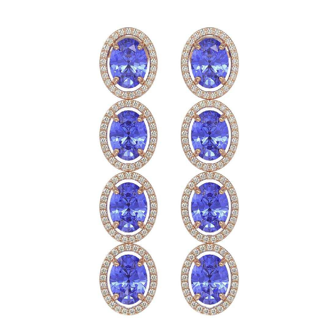 13.64 CTW Tanzanite & Diamond Halo Earrings 10K Rose