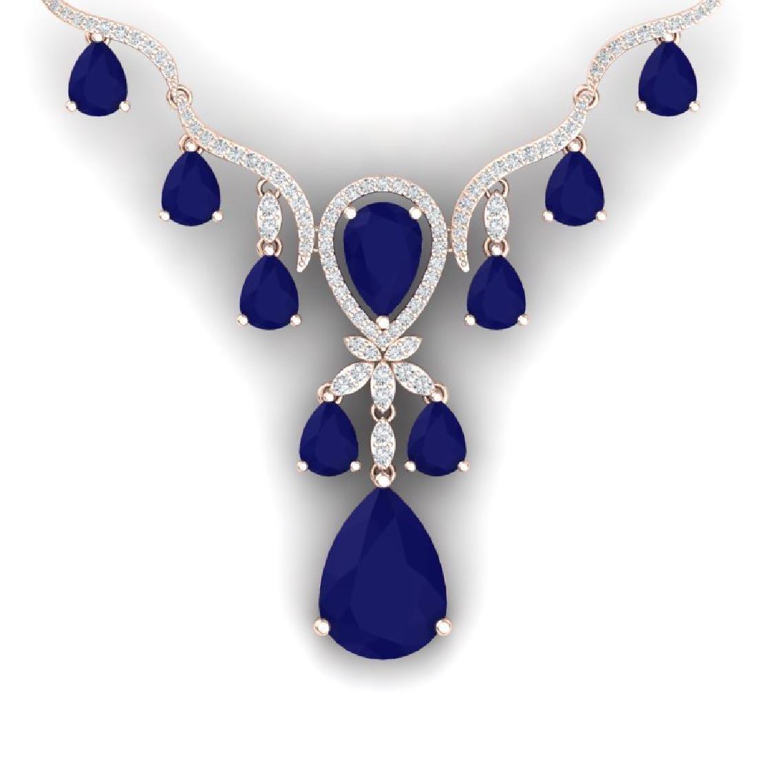 36.14 CTW Royalty Sapphire & VS Diamond Necklace 18K