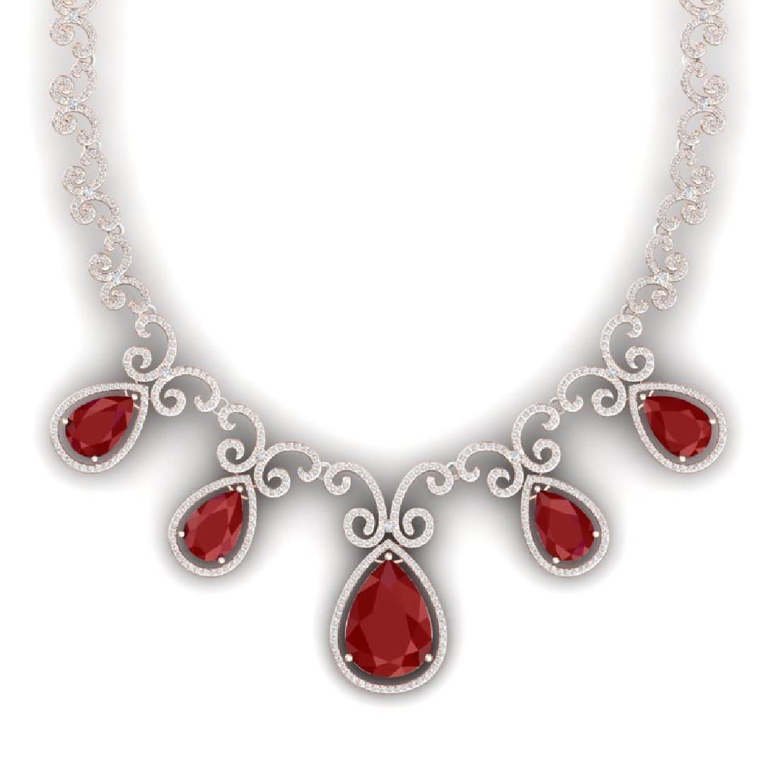 38.42 CTW Royalty Ruby & VS Diamond Necklace 18K Rose