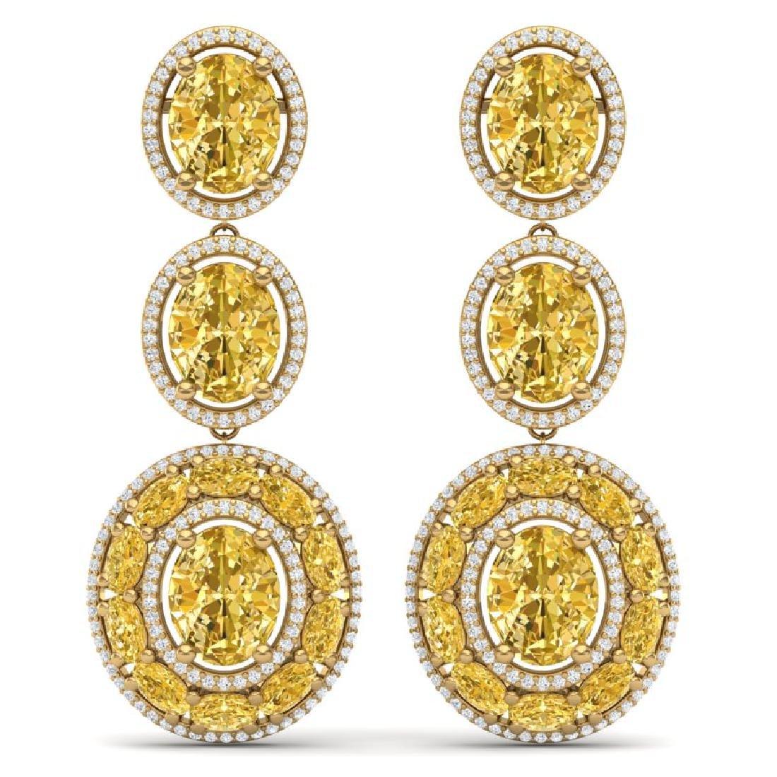 29.71 CTW Royalty Canary Citrine & VS Diamond Earrings