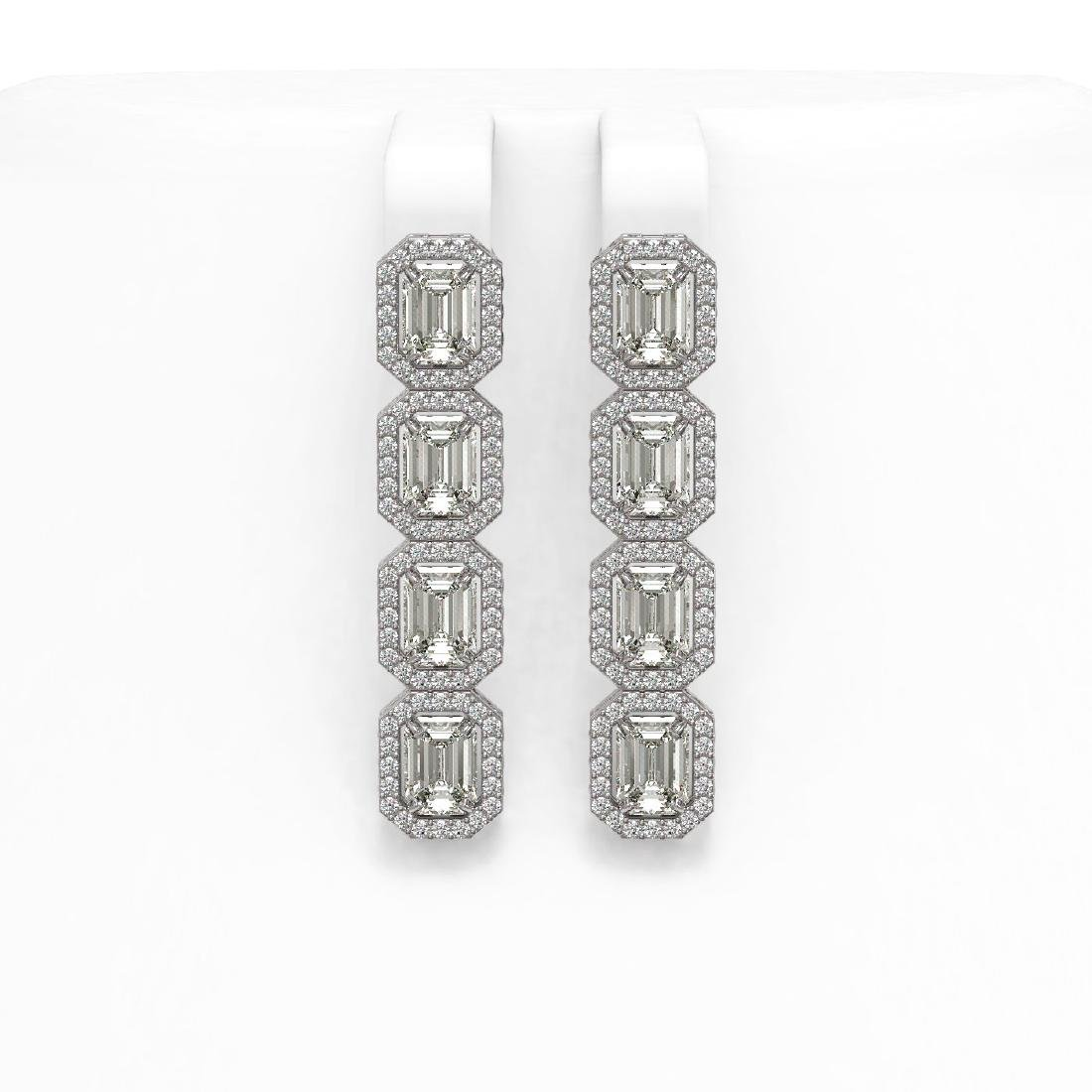 6.08 CTW Emerald Cut Diamond Designer Earrings 18K