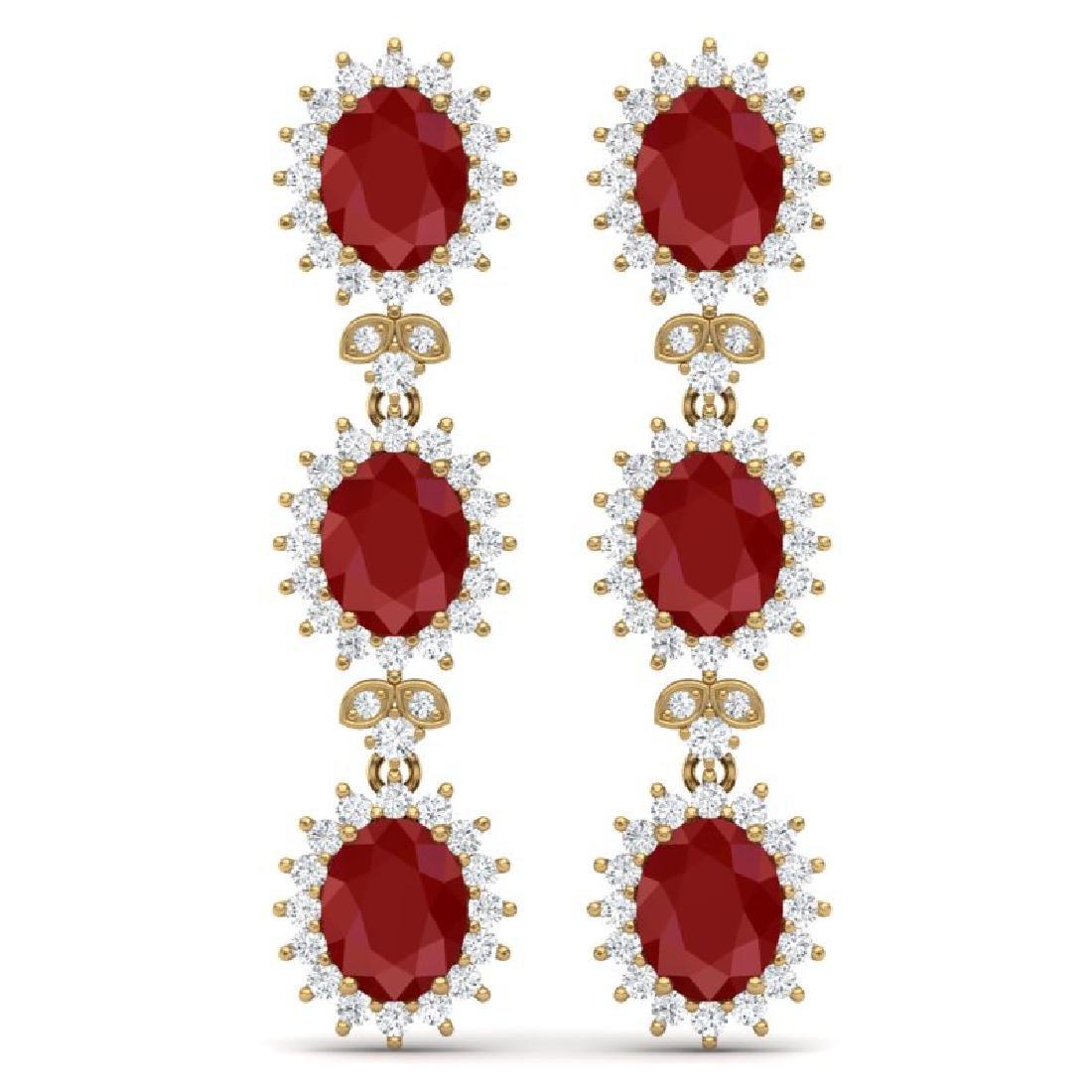 24.52 CTW Royalty Designer Ruby & VS Diamond Earrings