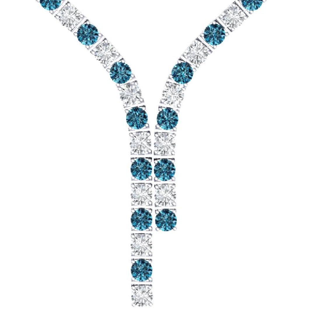 40 CTW SI/I Intense Blue & White Diamond Necklace 18K