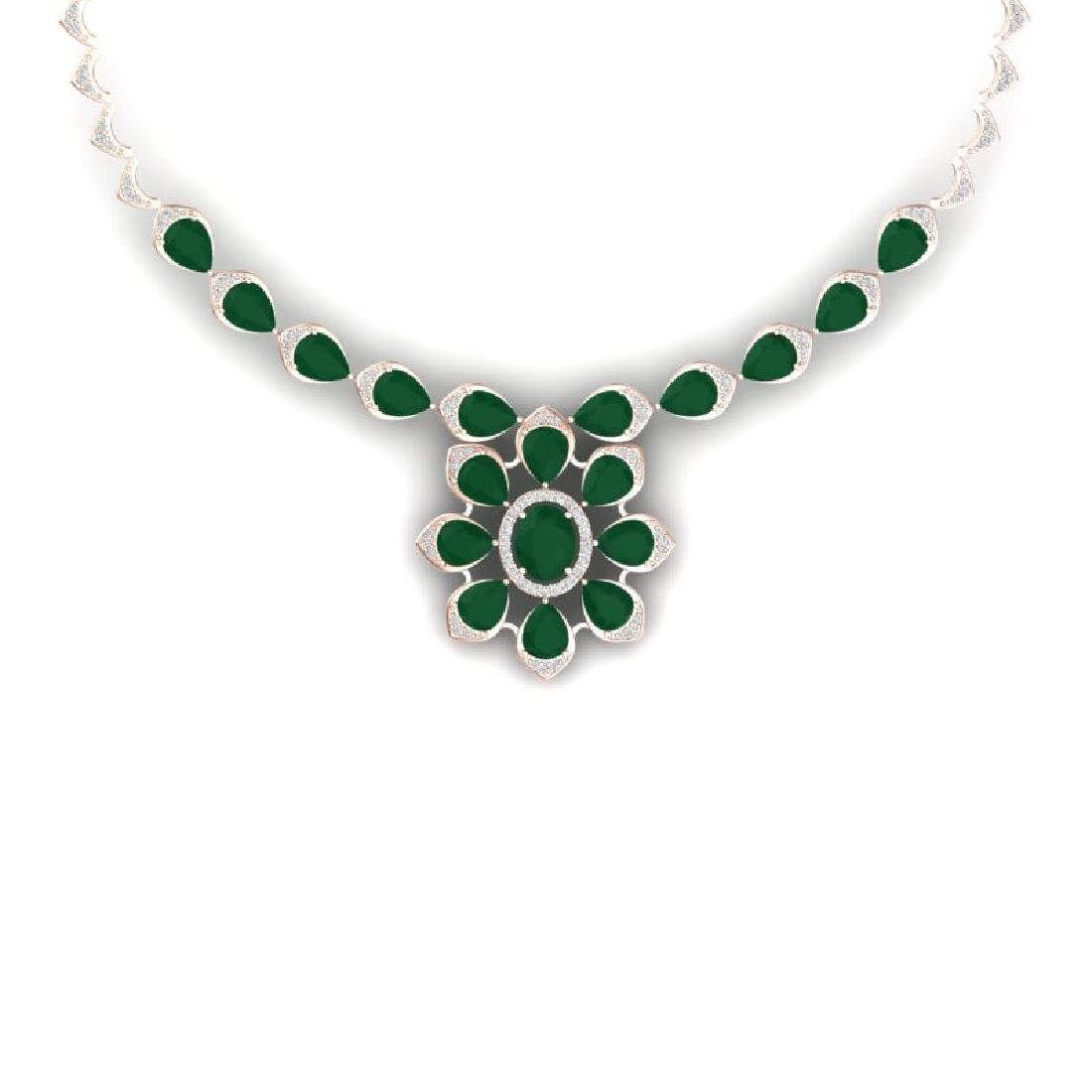 30.70 CTW Royalty Emerald & VS Diamond Necklace 18K