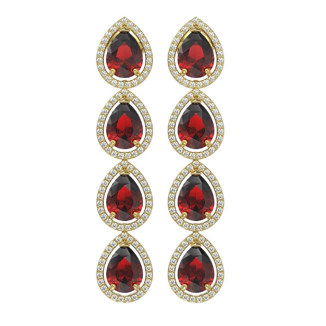 9.25 CTW Garnet & Diamond Halo Earrings 10K Yellow Gold