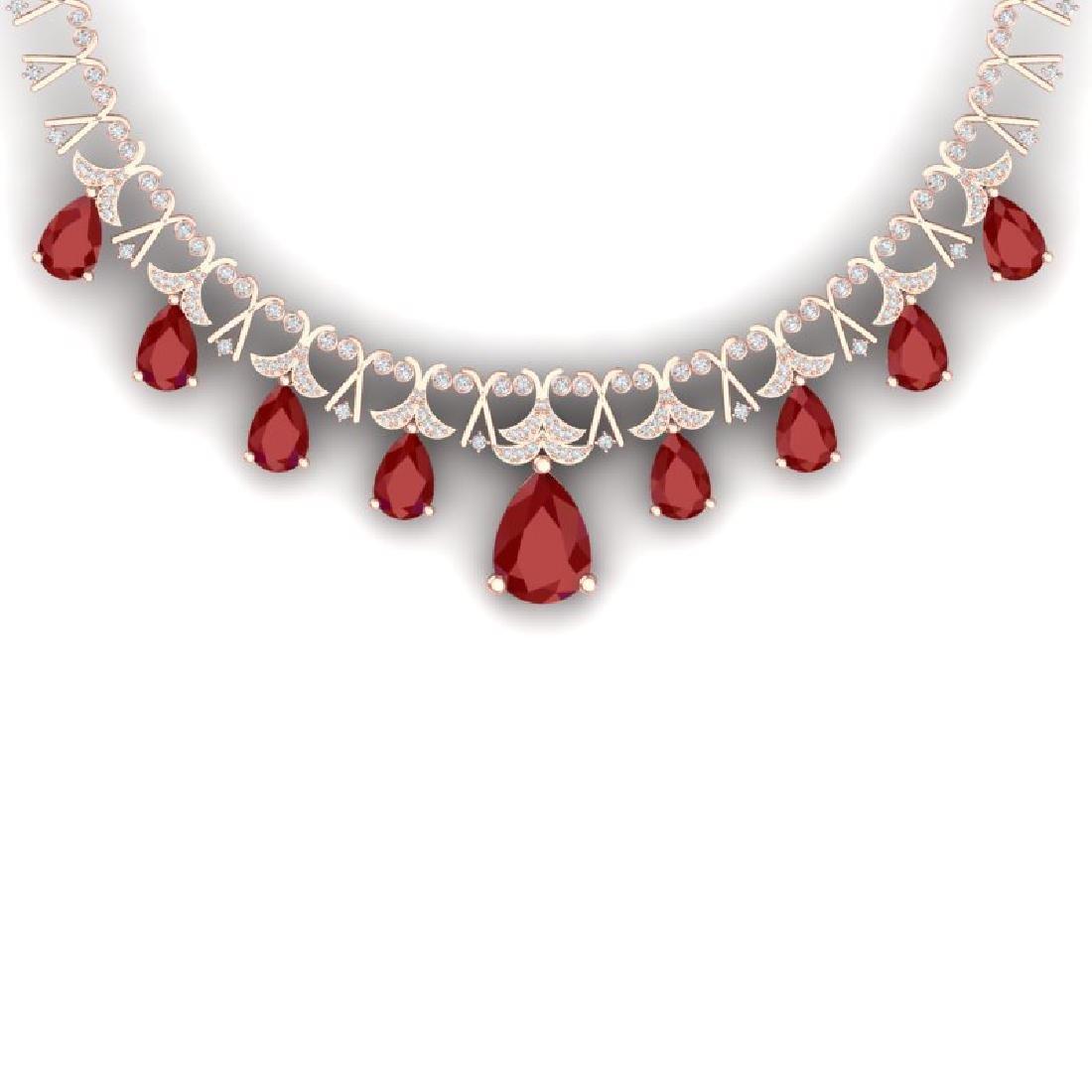56.94 CTW Royalty Ruby & VS Diamond Necklace 18K Rose