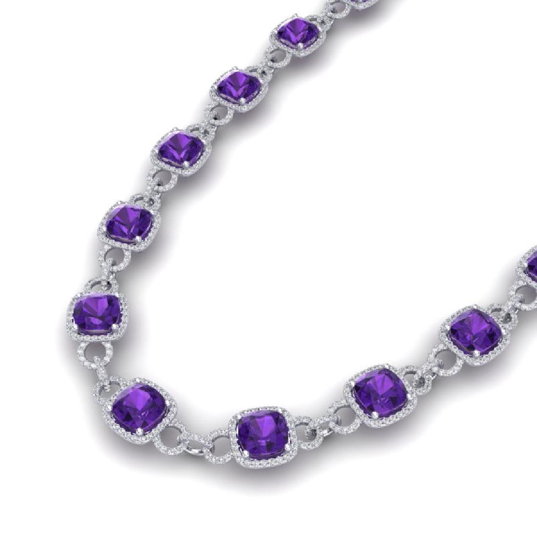 66 CTW Amethyst & VS/SI Diamond Necklace 14K White Gold