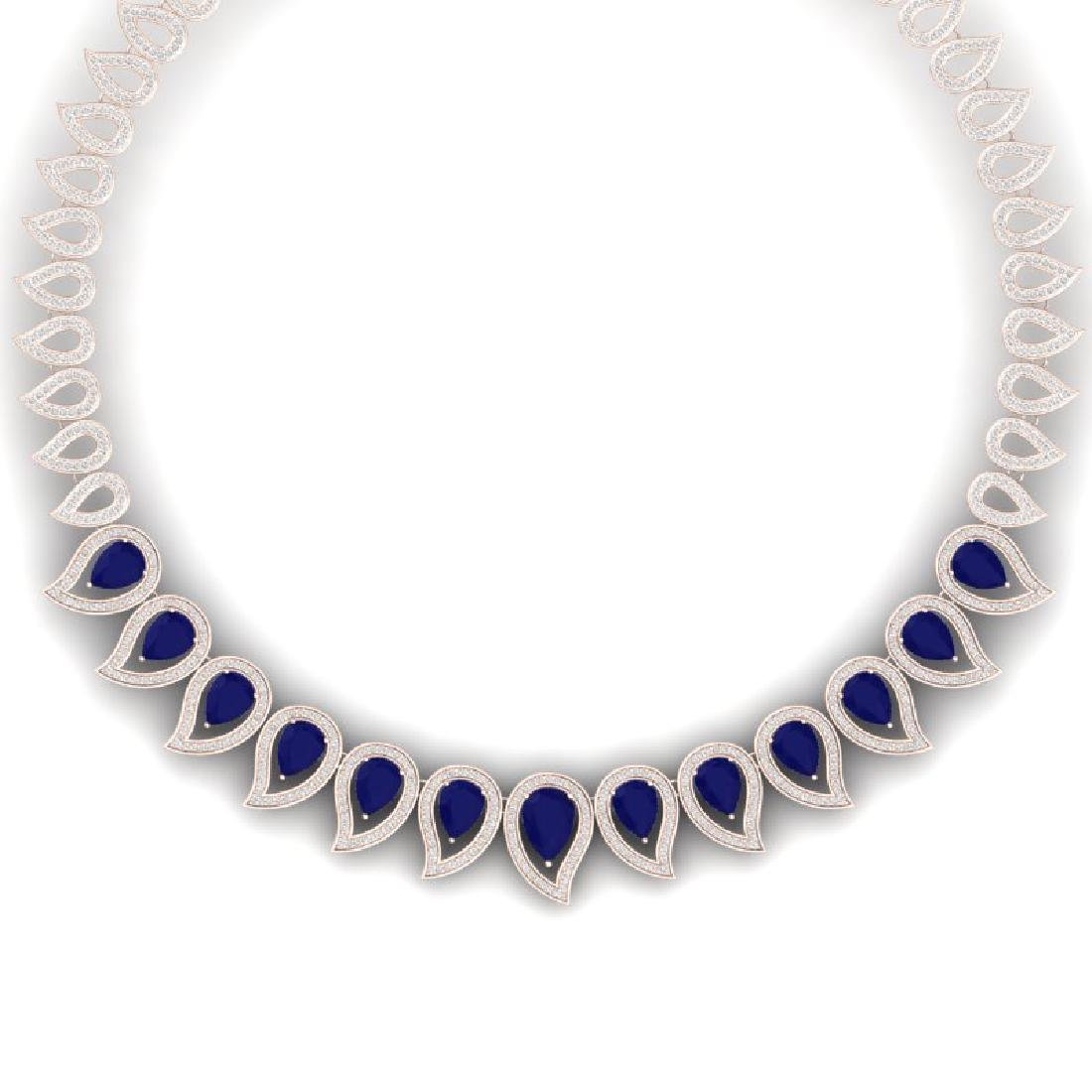 33.4 CTW Royalty Sapphire & VS Diamond Necklace 18K