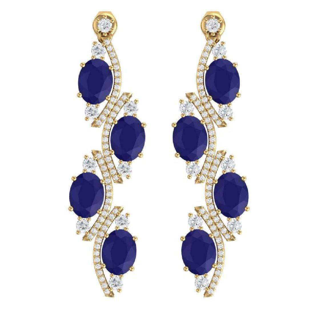 16.12 CTW Royalty Sapphire & VS Diamond Earrings 18K