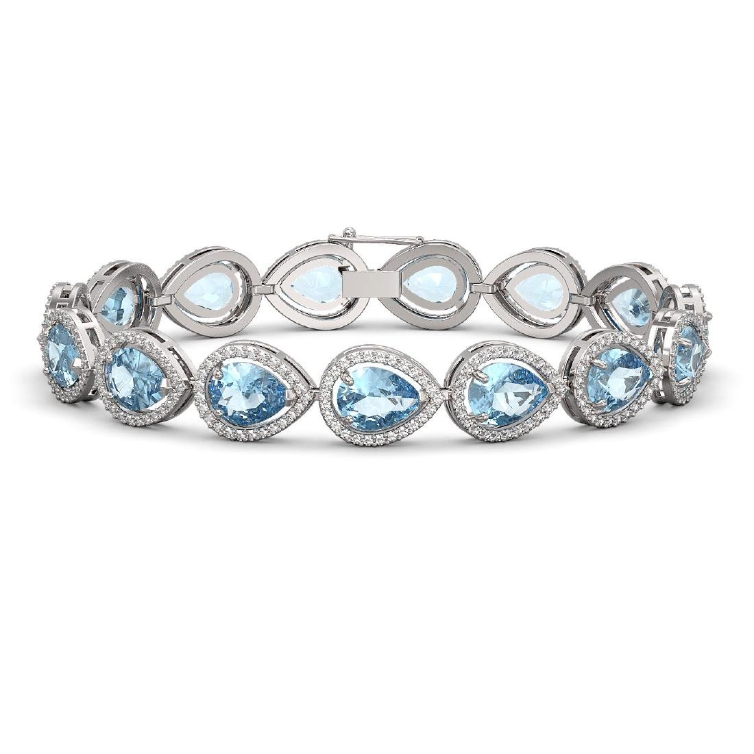 19.85 CTW Aquamarine & Diamond Halo Bracelet 10K White