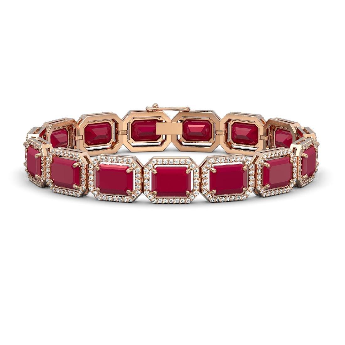 38.61 CTW Ruby & Diamond Halo Bracelet 10K Rose Gold