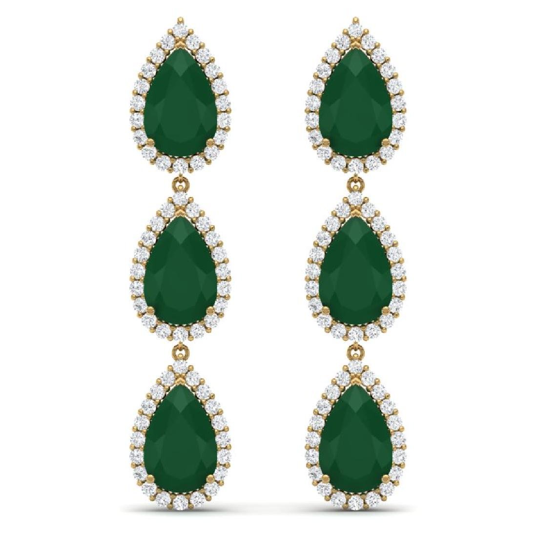 27.06 CTW Royalty Emerald & VS Diamond Earrings 18K